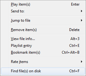 Find File on Disk Menu